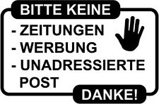 Verbot Aufkleber Keine Werbung Keine Zeitungen Briefkastenaufkleber 100x66mm