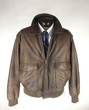 Reed Sportswear Leather Jacket Size 42 Brown Bomber Flight Map Lining Vintage