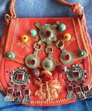 Vintage Moroccan Berber Bag Red Leather Jewelry Beads Coins