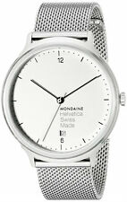 Mondaine MH1.L2210.SM Helvetica No1 Light White Dial Men Mesh Steel Watch New