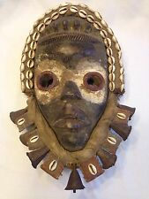 AFRICAN TRIBAL MASK DAN TRIBE COWRY COWRIE SHELL BELLS SCULPTURE HAND CARVED #1