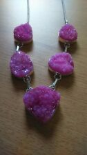 Pink Natural druzy crystal statement stone long silver chain pendant necklace