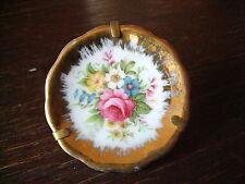 Limoges Miniatur Porzellan Teller von Hand bemalt Blumen mit Aufsteller signiert