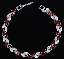 18k White Gold Tennis Bracelet made w Swarovski Crystal Garnet Red & Clear Stone