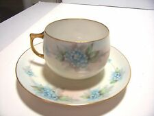 Vintage Porcelain German Bavaria J & C Tea Cup and Saucer Blue Floral Pattern
