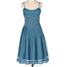 Rare Anthropologie Odille Chalet Blue Beaded Dress Size 8