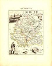 Carte du Département de l'INDRE, vers 1880. Migeon