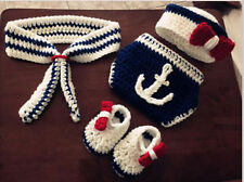 Newborn Baby Boy Girl Crochet Knit Navy Theme Costume Photography Prop