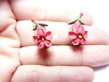 Vintage Gold Tone Metal Red Green Yellow Painted Plastic Flower Clip On Earrings