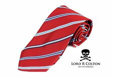 Lord R Colton Basics Tie - Red & Blue Classic Stripe Necktie - $59 Retail New