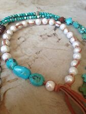 Handmade choker of freshwater pearls and natural turquoise