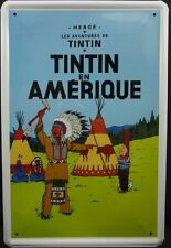 Tintin and Snowy Metal bar poster, tin sign 20x30 Tintin in America