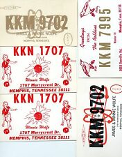 VINTAGE LOT OF 5 QSL CB CITIZEN BAND RADIO CARDS FROM MEMPHIS TENNESSEE