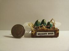 Miniature Artisan Magic  DRAGON EGGS  CRATE ooak  1:12 doll house witch