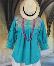 Turquoise Hand Embroidered Blouse Chiapas Mexico Hippie Peasant Santa Fe Cowgirl