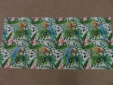 Parrot parrots tropical leaves green blue orange remnant fabric piece 130x60cm