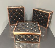 NEW Black & Copper Quilted Tin / Storage Box