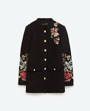 BNWT Zara Floral Military Style Coat Embroidered Wool Jacket - L