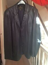 Men's navy blue real leather jacket, size 51