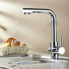 Luxury 3 Way Single Hole 2 Handles Kitchen Faucet Pure Water Filter Mixer Tap