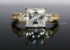14k Yellow Gold 2.45 CT VVS/D Princess Cut wedding Engagement  Ring Anniversary