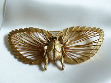 VTGL GOLDTONE METAL BUG BEETLE LARGE WINGS PIN BROOCH