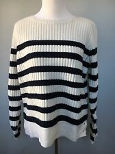 NWT Madewell Striped Anchorlight Sweater Ivory White Navy Blue Large L $98 E6035