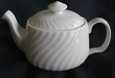 WHITE BONE CHINA FLUTED 2 CUP TEA POT