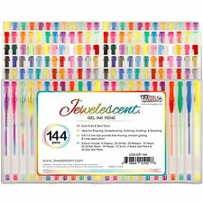 US Art Supply Jewelescent 144pc Gel Pen Set Classic Glitter Metallic (72 Colors)