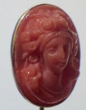 Vintage Early 1900's 10K Yellow Carved Salmon Coral Cameo Stick Pin