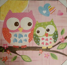 CIRCO CANVAS LOVE AND NATURE OWL PAIR WALL ART OOPSY DAISY GIRLS PINK NEW