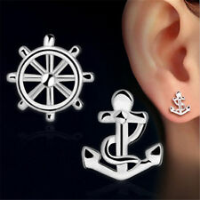 925 Sterling Silver Anchor & Rudder Club Stud Mini Asymmetric Earrings Jewelry