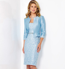 Social Occasions Mon Cheri 116838 Powder Blue sz 6 Dress & Bolero Jacket Lace