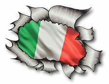 LARGE Ripped Torn Metal Look Design ITALY Italian il Tricolore Flag car sticker