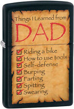 "Zippo ""Things I Learned From Dad"" Black Matte Windproof Lighter 28372 NEW L@@K"