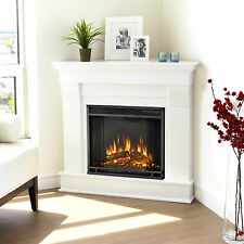Real Flame Chateau Electric Corner Fireplace Heater White RealFlame