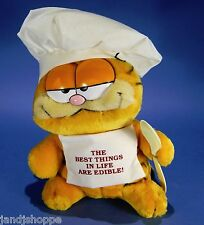 "Vintage Best Things in Life are Edible Garfield 10"" 1980's Plush Stuffed Animal"