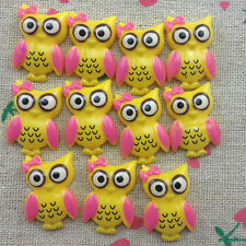10pcs Owl Flatback Resin Cabochon Scrapbooking for craft.yellow @1