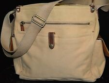 FOSSIL Khaki Canvas Brown Leather Cargo Tote Purse POCKETS Casual Shoulder Bag