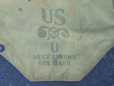 Vintage WWII US Army Service Gas Mask Military Green 40s Bag