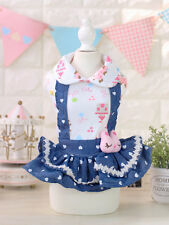 XL Love Heart Pet Dog Denim Skirt Dress Soft Chihuahua Clothes SALE RECOMMEND