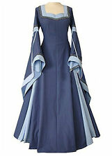 New Blue Medieval Cosplay Elvish Costume Gown  Dress Corset Back 10 12 14 16 L
