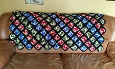 "Vintage Crochet Granny Square Afghan Throw Lap Blanket 60"" x 50"" Red Blue Green"