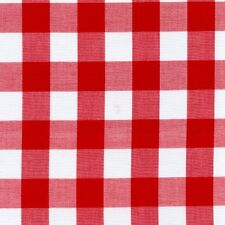 "Gingham 1 Inch Checkered Poly Cotton Fabric Prints - Red  60"" - Sold BTY"