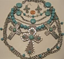 Necklace Earring Set Vintage Layered Cross Turquoise Gemstone Chunky NWT L717