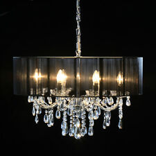Gorgeous Shallow Eight Arm Chrome Frame Crystal Chandelier With Black Shade