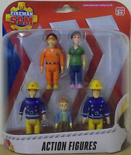 Fireman Sam Action Figures 5 Pack ~ Elvis, Dilys, Norman, Pilot Tom, Fireman Sam