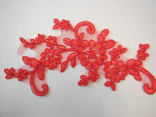 A Red bridal cord floral lace Applique/ lace motif for sale.22x10cm.Sold by pcs