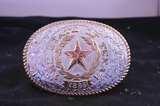 VINTAGE Western Cowboy Cowgirl Texas State Seal Design crumrine belt buckle