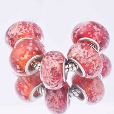 5Pcs GF Silver charms Wine Crystal MURANO GLASS lampwork european beads
